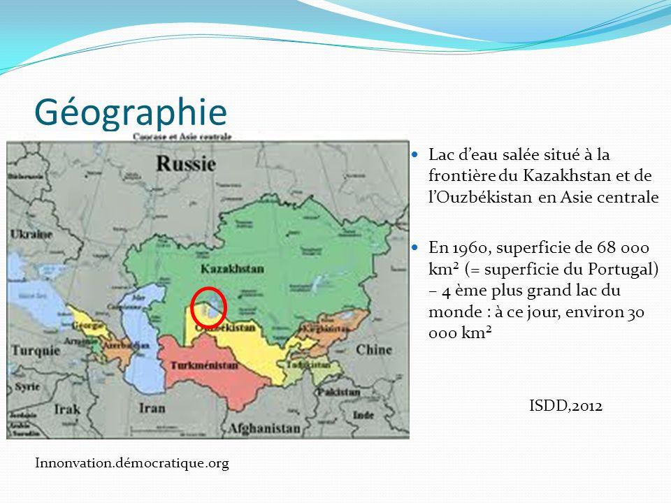 Hydrographie/Hydrologie Alimentation par deux rivières : LAmou-Darya et la Syr-Darya pour un bassin versant total de 1,6 millions de km² (ISDD, 2012) LAmou-Darya Nature and ressource - UNESCO La Syr-Darya : Source : montagne du Tian Shan, au Kirghizstan Longueur : 3 000 km Débit moyen : 600 m 3 /s LAmou-Darya : Source : glacier Vrevski (montagne du Pamir : Tadjikistan) à 5 000 m daltitude Longueur : 2 620 km Débit moyen annuel : 79 km 3 (2 500 m3/s : idem Rhone + Loire) Universalis.fr ; Wikipedia,fr