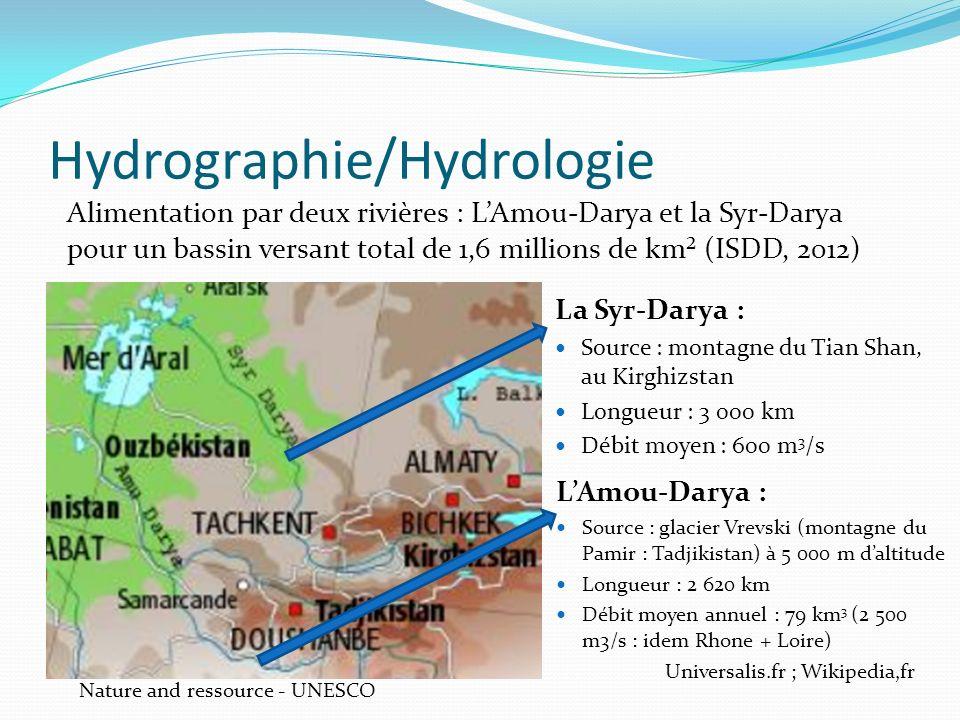 Hydrographie/Hydrologie Alimentation par deux rivières : LAmou-Darya et la Syr-Darya pour un bassin versant total de 1,6 millions de km² (ISDD, 2012)