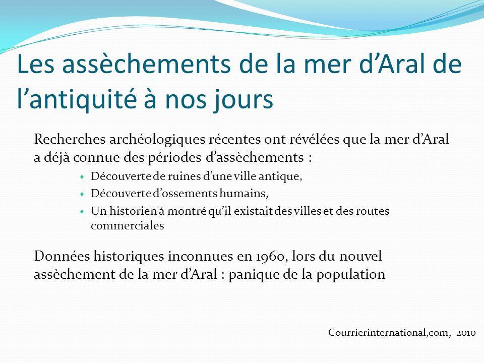 Les assèchements de la mer dAral de lantiquité à nos jours Recherches archéologiques récentes ont révélées que la mer dAral a déjà connue des périodes