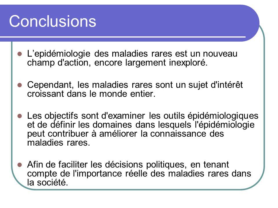 Conclusions Lepidémiologie des maladies rares est un nouveau champ d action, encore largement inexploré.