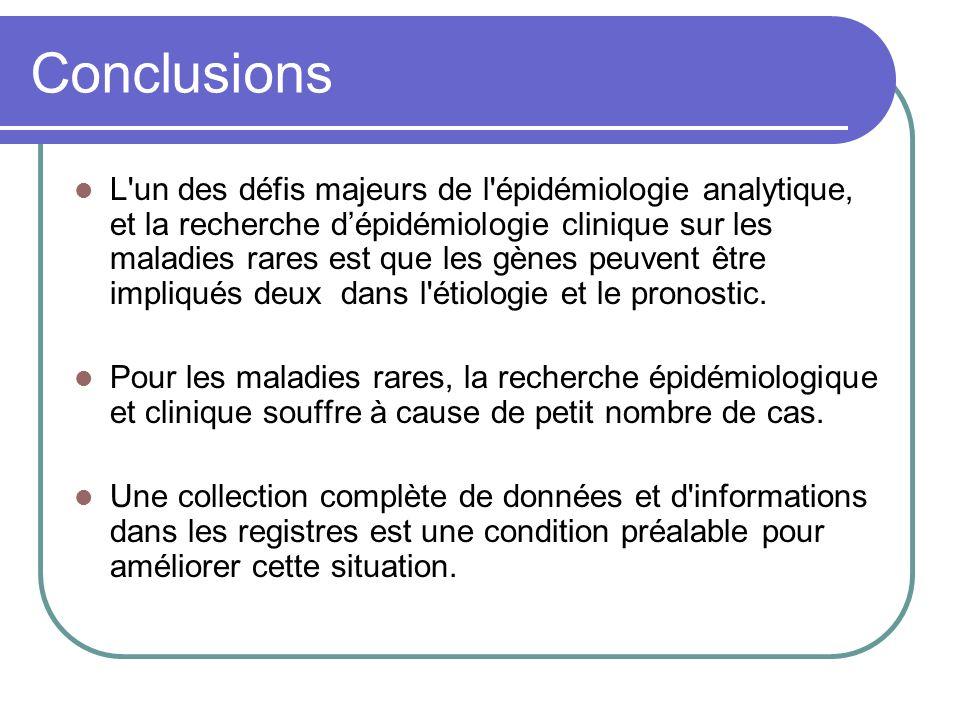 Conclusions L un des défis majeurs de l épidémiologie analytique, et la recherche dépidémiologie clinique sur les maladies rares est que les gènes peuvent être impliqués deux dans l étiologie et le pronostic.