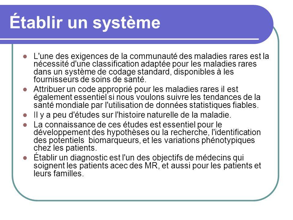 Établir un système L une des exigences de la communauté des maladies rares est la nécessité d une classification adaptée pour les maladies rares dans un système de codage standard, disponibles à les fournisseurs de soins de santé.