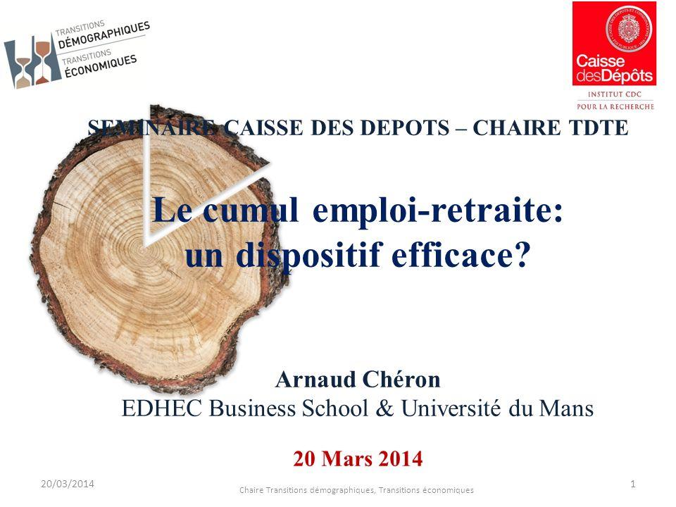 SEMINAIRE CAISSE DES DEPOTS – CHAIRE TDTE Le cumul emploi-retraite: un dispositif efficace.