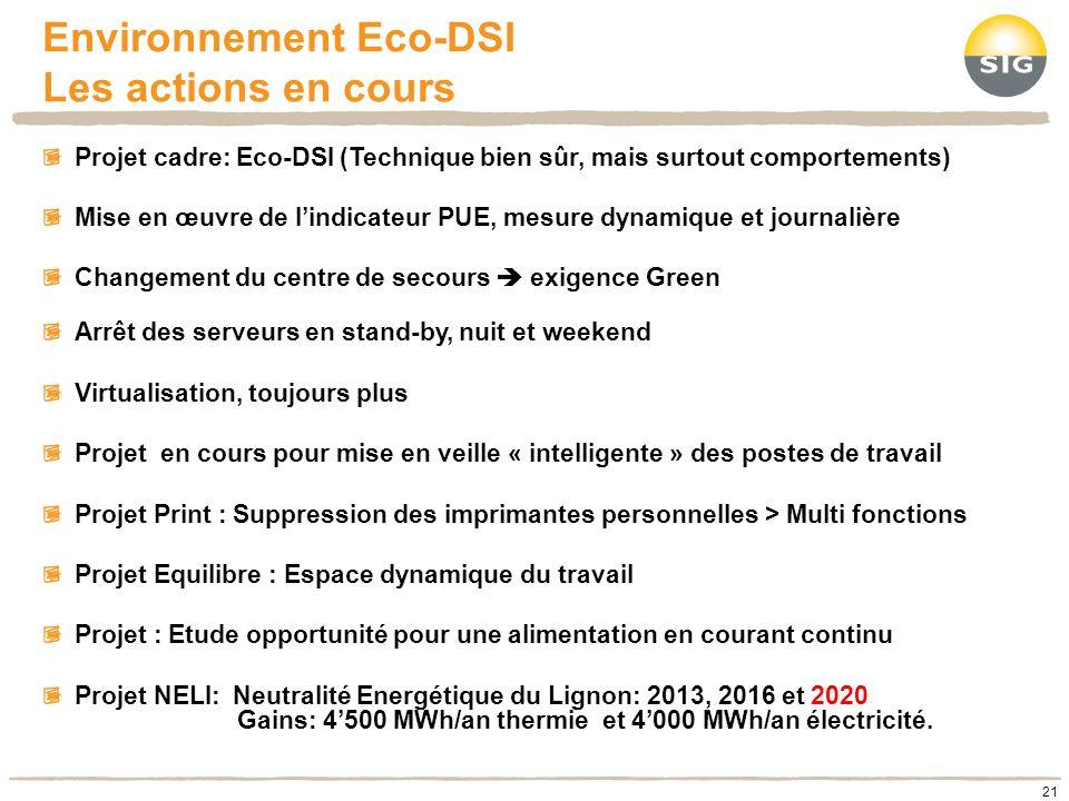 Environnement Eco-DSI Les actions en cours 21 Projet cadre: Eco-DSI (Technique bien sûr, mais surtout comportements) Mise en œuvre de lindicateur PUE,