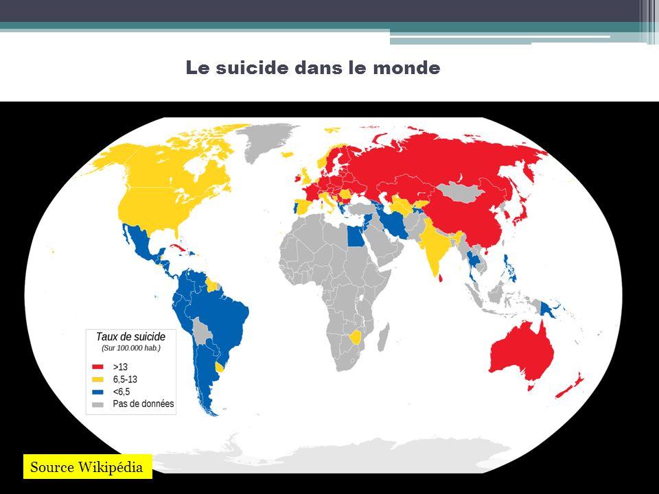 Le suicide dans le monde Source Wikipédia
