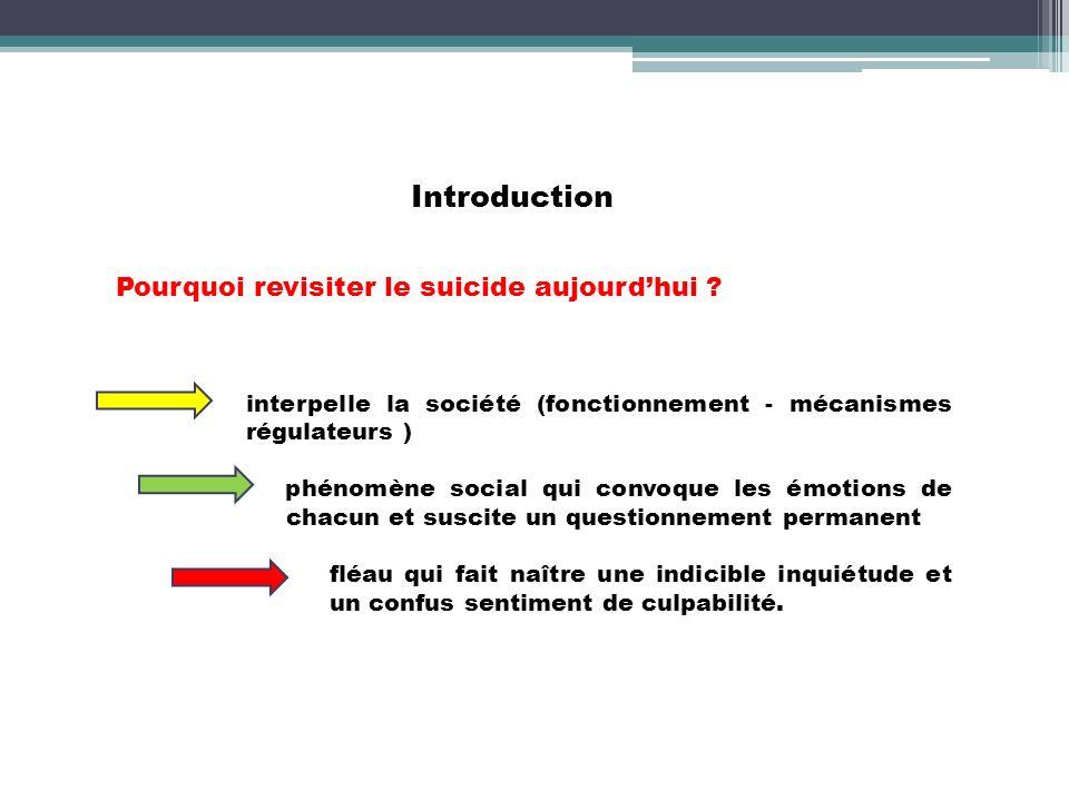 Introduction Pourquoi revisiter le suicide aujourdhui ? interpelle la société (fonctionnement - mécanismes régulateurs ) phénomène social qui convoque
