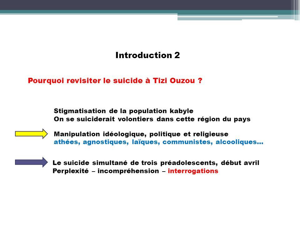 Introduction 2 Pourquoi revisiter le suicide à Tizi Ouzou ? Stigmatisation de la population kabyle On se suiciderait volontiers dans cette région du p