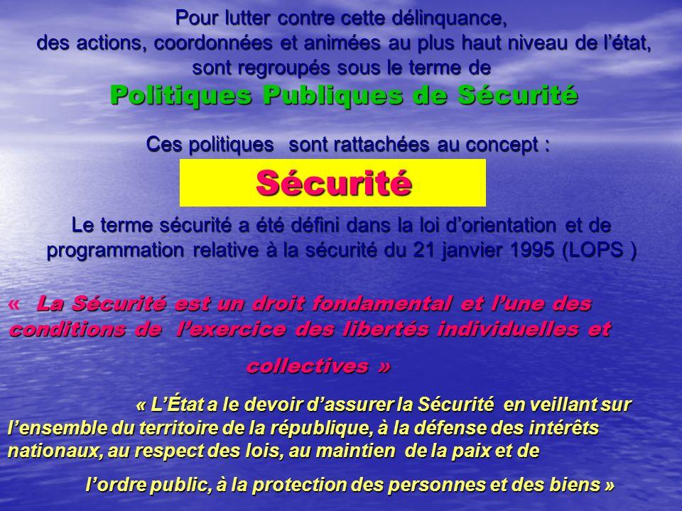 Pour lutter contre cette délinquance, des actions, coordonnées et animées au plus haut niveau de létat, des actions, coordonnées et animées au plus haut niveau de létat, sont regroupés sous le terme de Politiques Publiques de Sécurité Politiques Publiques de Sécurité Ces politiques sont rattachées au concept : Sécurité Le terme sécurité a été défini dans la loi dorientation et de programmation relative à la sécurité du 21 janvier 1995 (LOPS ) La Sécurité est un droit fondamental et lune des conditions de lexercice des libertés individuelles et « La Sécurité est un droit fondamental et lune des conditions de lexercice des libertés individuelles et collectives » collectives » « LÉtat a le devoir dassurer la Sécurité en veillant sur lensemble du territoire de la république, à la défense des intérêts nationaux, au respect des lois, au maintien de la paix et de lordre public, à la protection des personnes et des biens » lordre public, à la protection des personnes et des biens »
