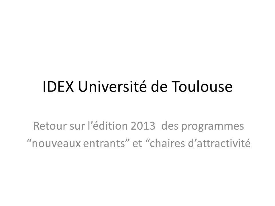IDEX Université de Toulouse Retour sur lédition 2013 des programmes nouveaux entrants et chaires dattractivité