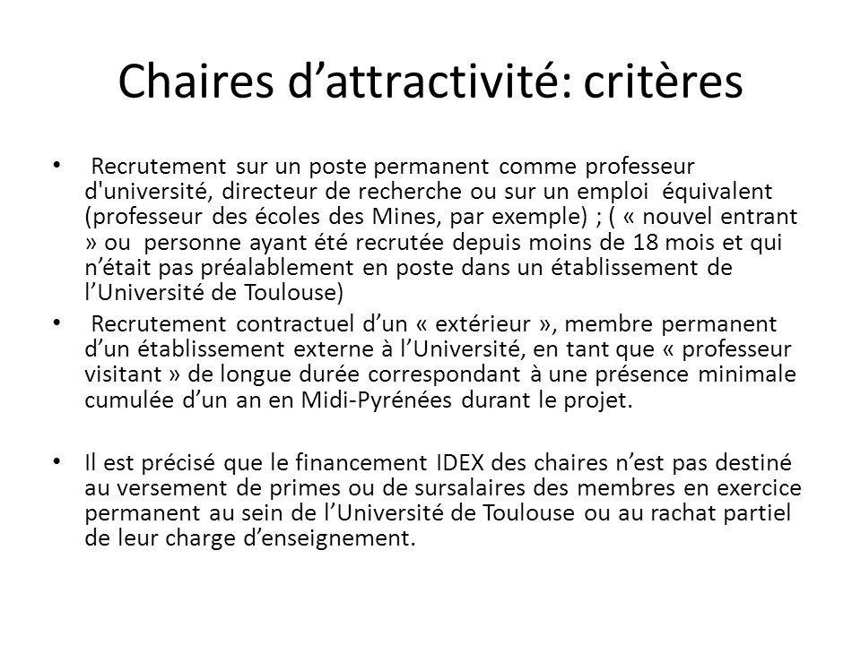 Chaires dattractivité: critères Recrutement sur un poste permanent comme professeur d'université, directeur de recherche ou sur un emploi équivalent (