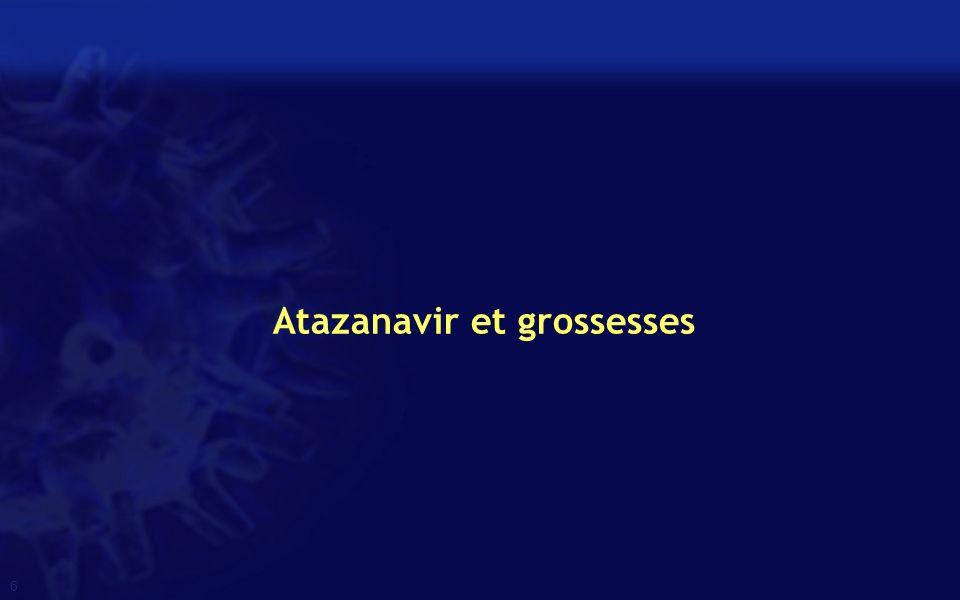 7 Etude rétrospective (France) 106 femmes ATV/r 300/100 Femmes africaines (88%), plutôt bien portantes (IMC pré grossesse : 25) Lê MP, CROI 2014, Abs.