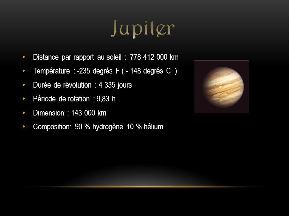 Distance par rapport au soleil : 778 412 000 km Température : -235 degrés F ( - 148 degrés C ) Durée de révolution : 4 335 jours Période de rotation :