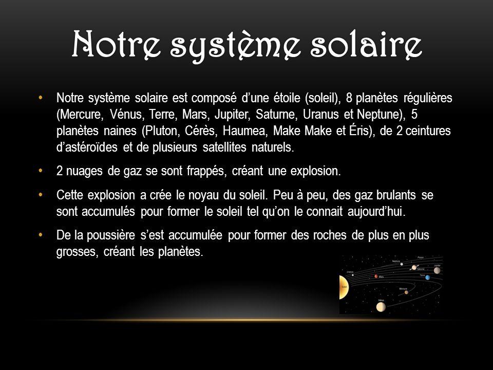 Notre système solaire est composé dune étoile (soleil), 8 planètes régulières (Mercure, Vénus, Terre, Mars, Jupiter, Saturne, Uranus et Neptune), 5 pl