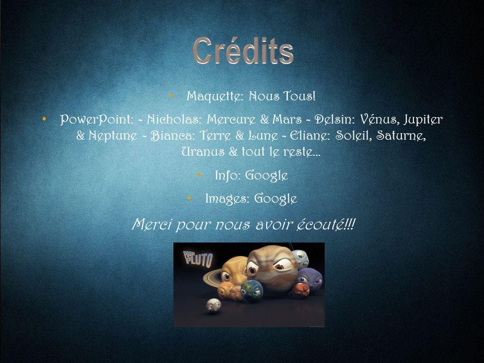 Maquette: Nous Tous! PowerPoint: - Nicholas: Mercure & Mars - Delsin: Vénus, Jupiter & Neptune - Bianca: Terre & Lune - Eliane: Soleil, Saturne, Uranu