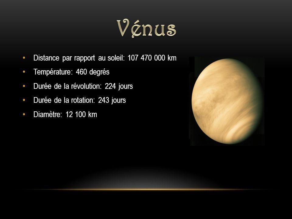 Distance par rapport au soleil: 107 470 000 km Température: 460 degrés Durée de la révolution: 224 jours Durée de la rotation: 243 jours Diamètre: 12