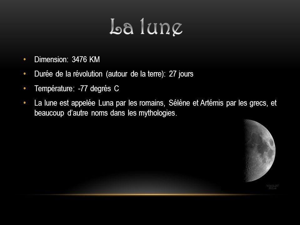 Dimension: 3476 KM Durée de la révolution (autour de la terre): 27 jours Température: -77 degrés C La lune est appelée Luna par les romains, Sélène et