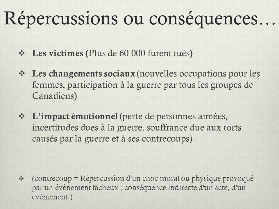 Répercussions ou conséquences… Les victimes ( Plus de 60 000 furent tués ) Les changements sociaux (nouvelles occupations pour les femmes, participati