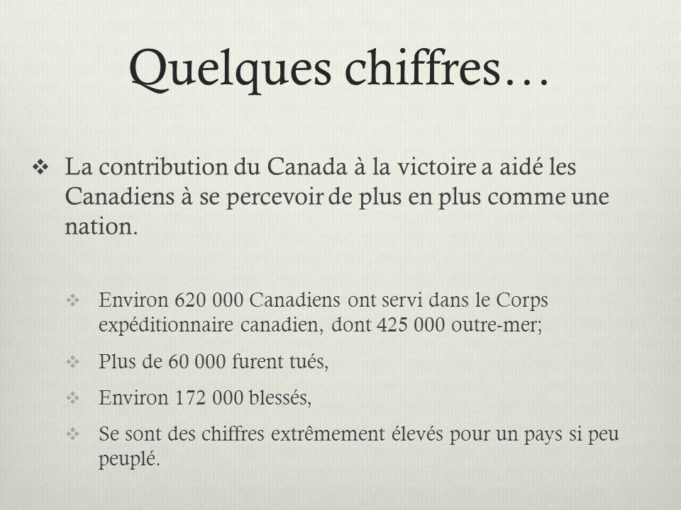 Quelques chiffres… La contribution du Canada à la victoire a aidé les Canadiens à se percevoir de plus en plus comme une nation. Environ 620 000 Canad