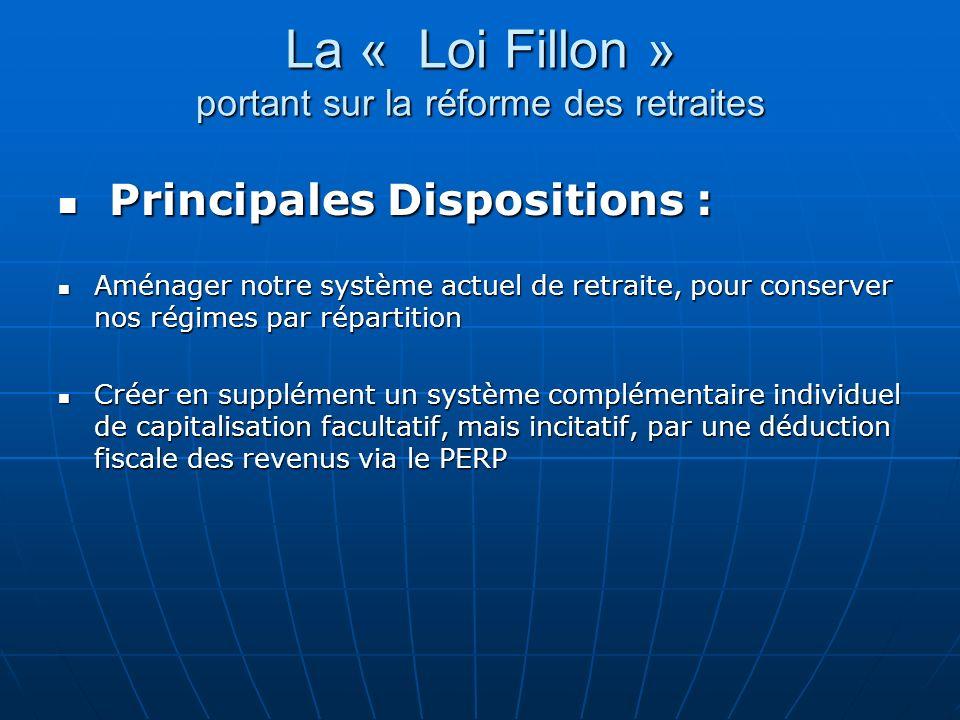 La « Loi Fillon » portant sur la réforme des retraites Principales Dispositions : Principales Dispositions : Aménager notre système actuel de retraite