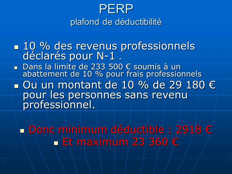 PERP plafond de déductibilité 10 % des revenus professionnels déclarés pour N-1. 10 % des revenus professionnels déclarés pour N-1. Dans la limite de