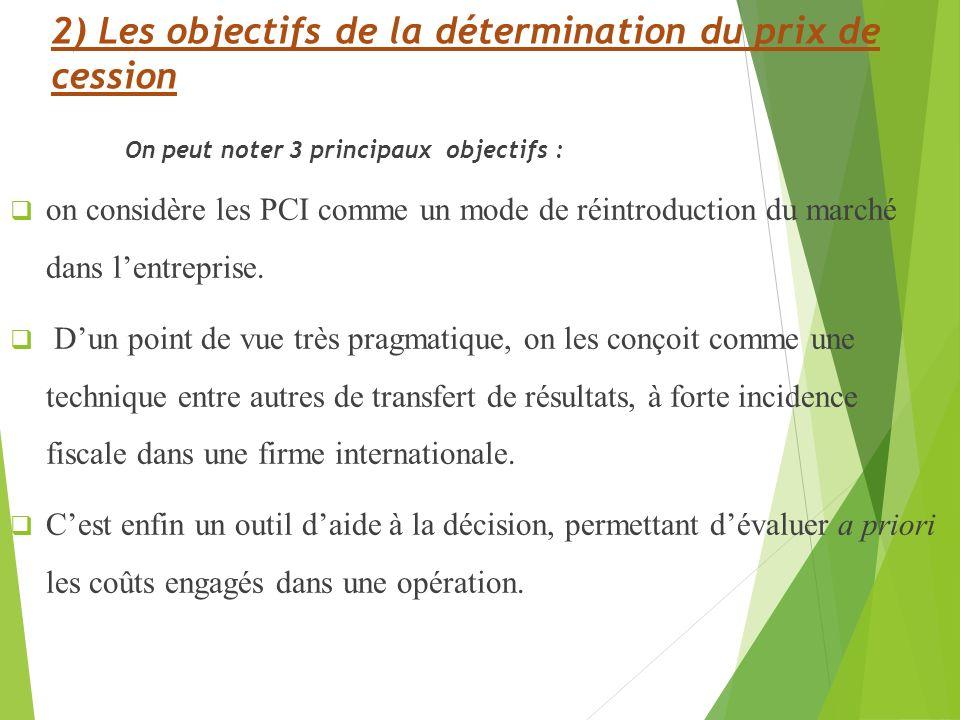 2) Les objectifs de la détermination du prix de cession On peut noter 3 principaux objectifs : on considère les PCI comme un mode de réintroduction du marché dans lentreprise.