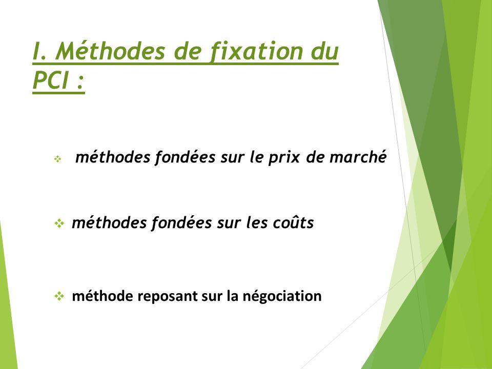 I. Méthodes de fixation du PCI : méthodes fondées sur le prix de marché méthodes fondées sur les coûts méthode reposant sur la négociation