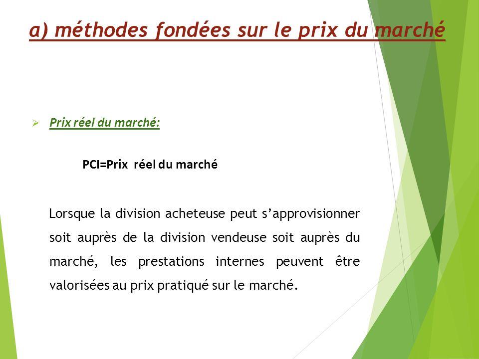 Prix réel du marché: PCI=Prix réel du marché Lorsque la division acheteuse peut sapprovisionner soit auprès de la division vendeuse soit auprès du marché, les prestations internes peuvent être valorisées au prix pratiqué sur le marché.