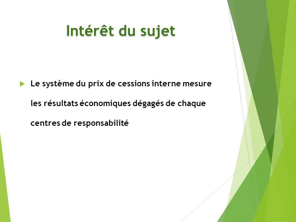 Intérêt du sujet Le système du prix de cessions interne mesure les résultats économiques dégagés de chaque centres de responsabilité