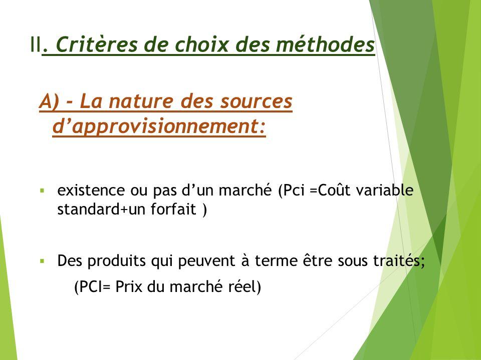 II. Critères de choix des méthodes A) - La nature des sources dapprovisionnement: existence ou pas dun marché (Pci =Coût variable standard+un forfait