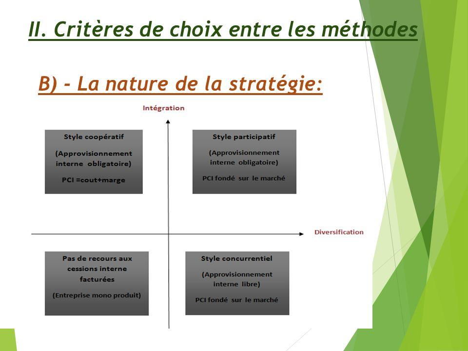 II. Critères de choix entre les méthodes B) - La nature de la stratégie: