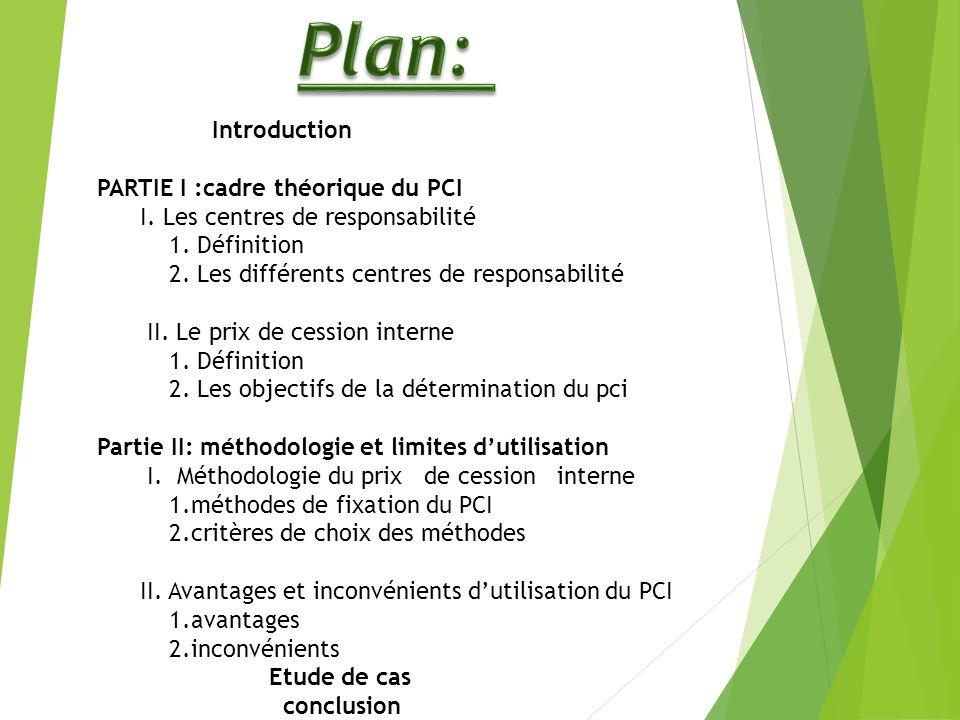 Introduction PARTIE I :cadre théorique du PCI I.Les centres de responsabilité 1.