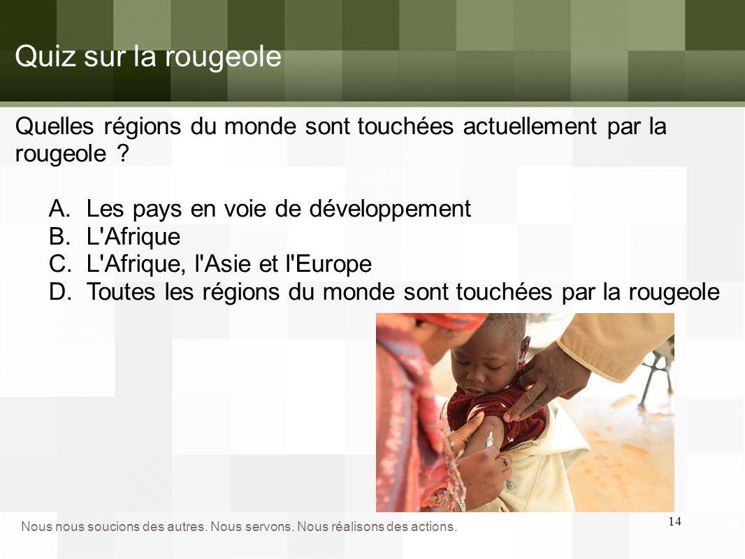 D. La rougeole touche toutes les régions du monde Poussées épidémiques en 2013 Quiz sur la rougeole