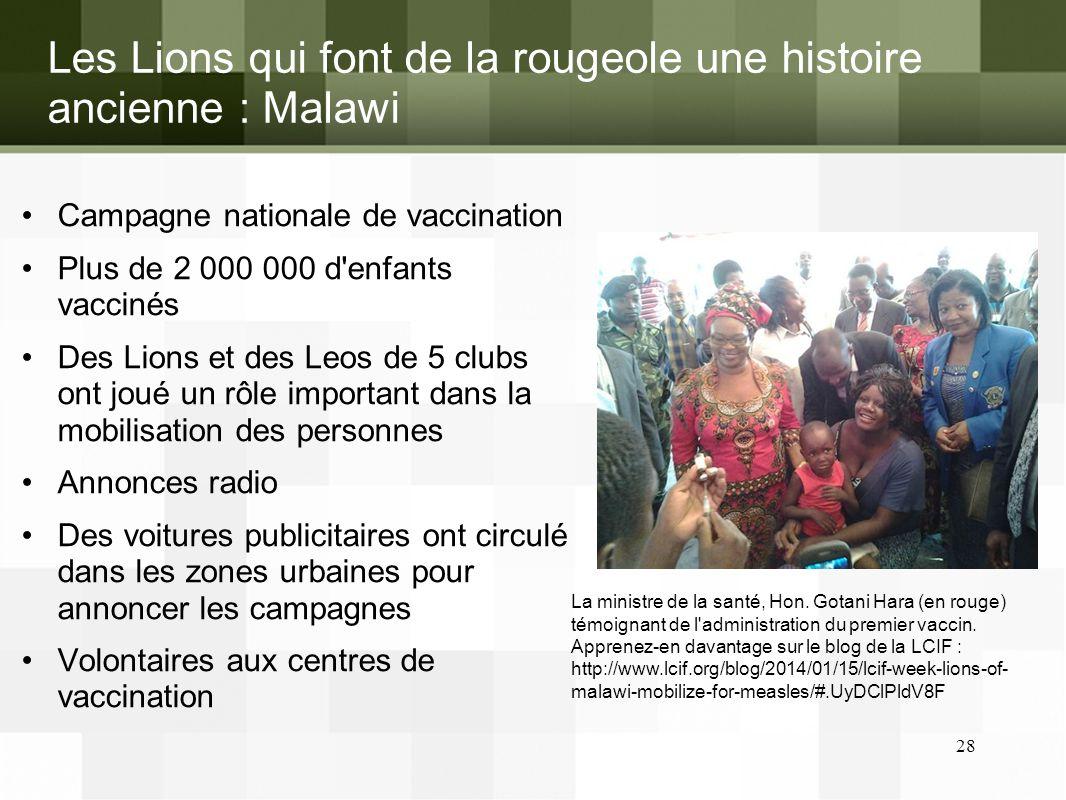 Les Lions qui font de la rougeole une histoire ancienne : Malawi Campagne nationale de vaccination Plus de 2 000 000 d'enfants vaccinés Des Lions et d