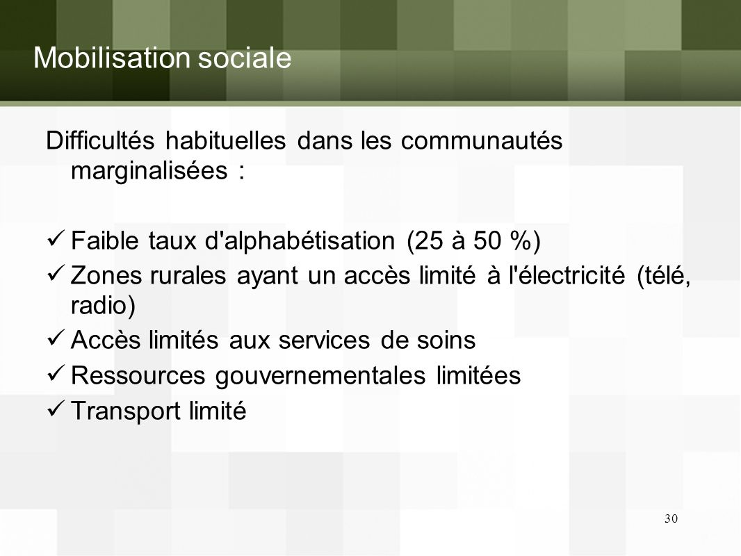 Mobilisation sociale Difficultés habituelles dans les communautés marginalisées : Faible taux d alphabétisation (25 à 50 %) Zones rurales ayant un accès limité à l électricité (télé, radio) Accès limités aux services de soins Ressources gouvernementales limitées Transport limité 30