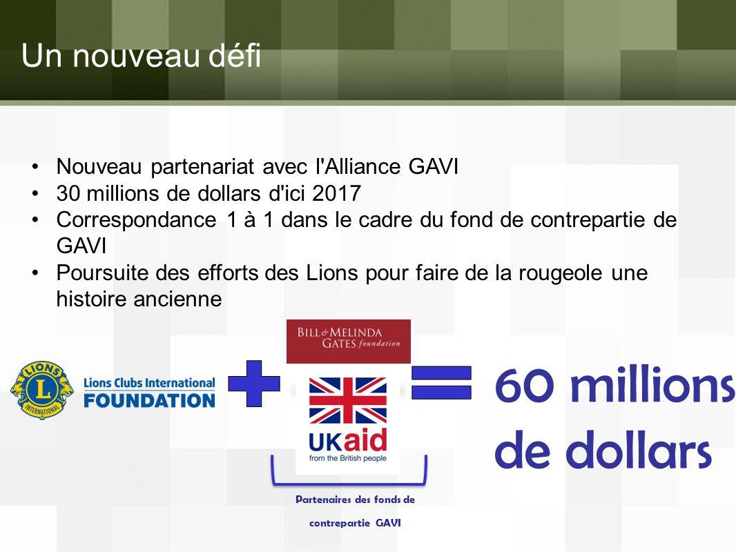 Un nouveau défi Nouveau partenariat avec l'Alliance GAVI 30 millions de dollars d'ici 2017 Correspondance 1 à 1 dans le cadre du fond de contrepartie