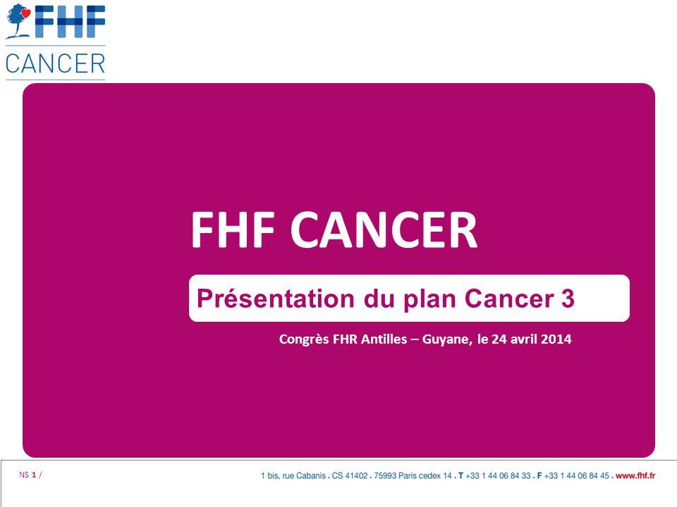 NS 1 / FHF CANCER Congrès FHR Antilles – Guyane, le 24 avril 2014 Présentation du plan Cancer 3