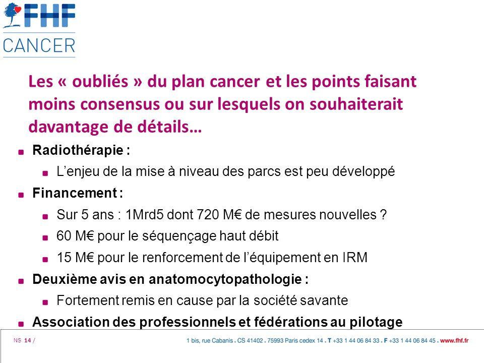NS 14 / Les « oubliés » du plan cancer et les points faisant moins consensus ou sur lesquels on souhaiterait davantage de détails… Radiothérapie : Len