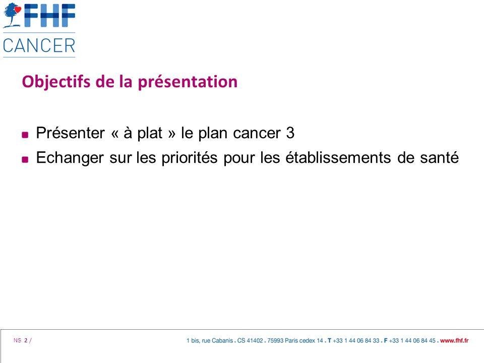 NS 2 / Objectifs de la présentation Présenter « à plat » le plan cancer 3 Echanger sur les priorités pour les établissements de santé