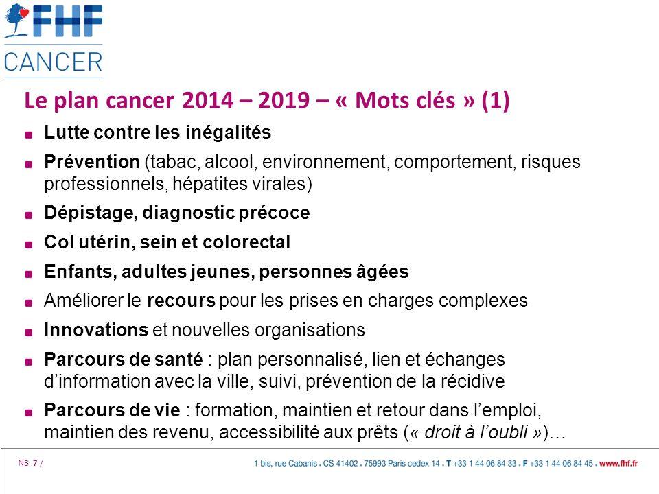 NS 7 / Le plan cancer 2014 – 2019 – « Mots clés » (1) Lutte contre les inégalités Prévention (tabac, alcool, environnement, comportement, risques prof