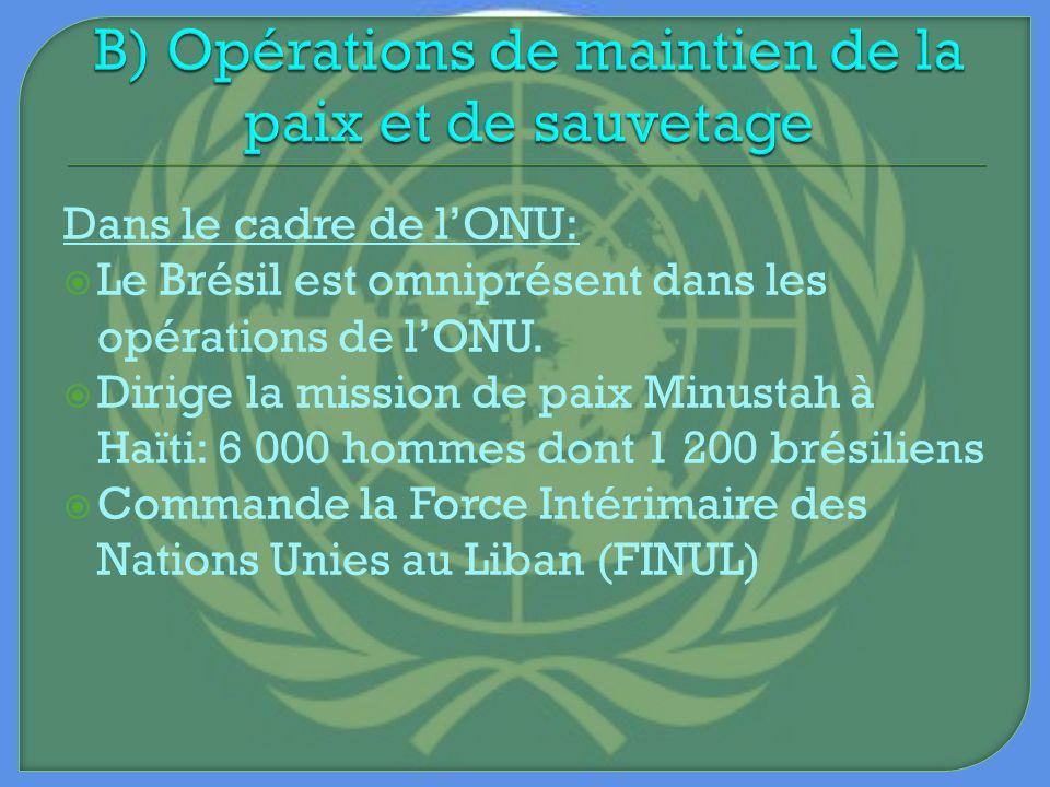 Dans le cadre de lONU: Le Brésil est omniprésent dans les opérations de lONU. Dirige la mission de paix Minustah à Haïti: 6 000 hommes dont 1 200 brés