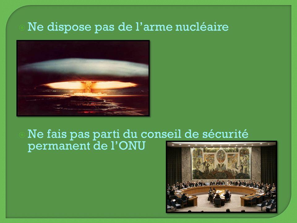 Ne dispose pas de larme nucléaire Ne fais pas parti du conseil de sécurité permanent de lONU