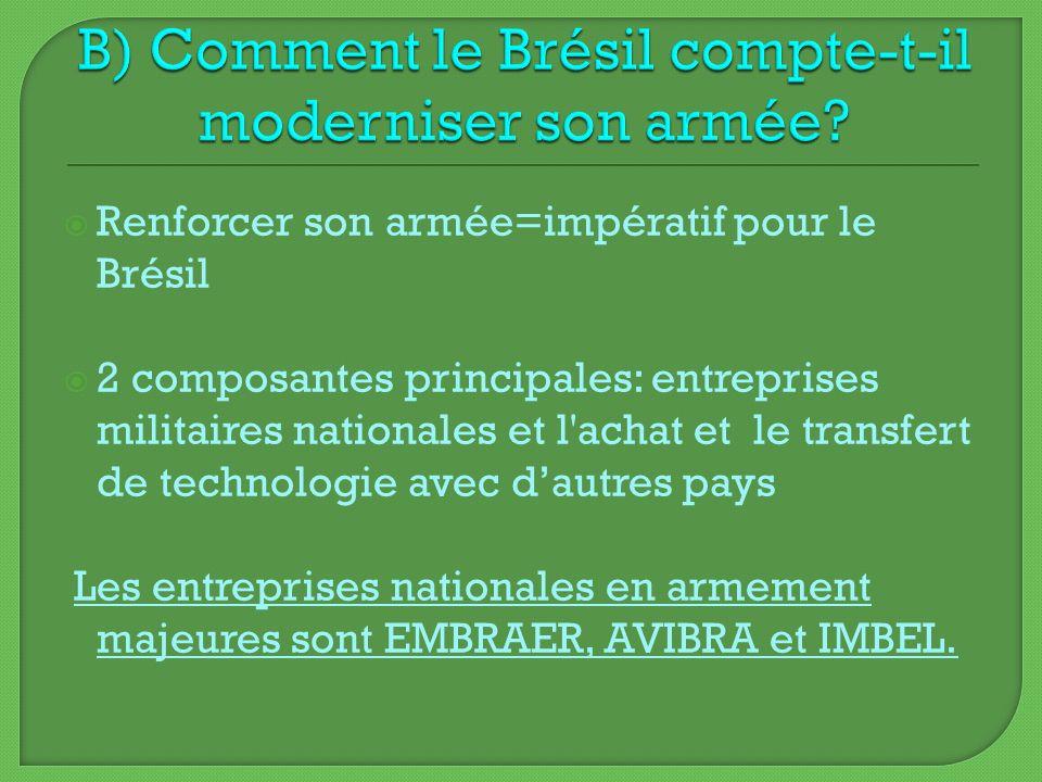 Renforcer son armée=impératif pour le Brésil 2 composantes principales: entreprises militaires nationales et l'achat et le transfert de technologie av
