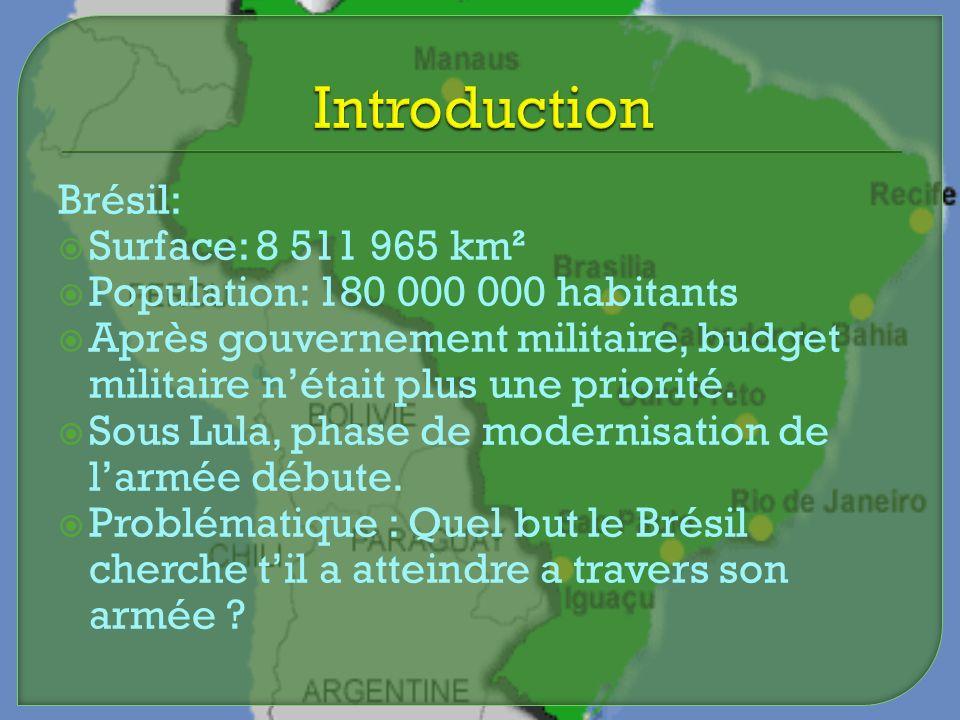 Brésil: Surface: 8 511 965 km² Population: 180 000 000 habitants Après gouvernement militaire, budget militaire nétait plus une priorité. Sous Lula, p