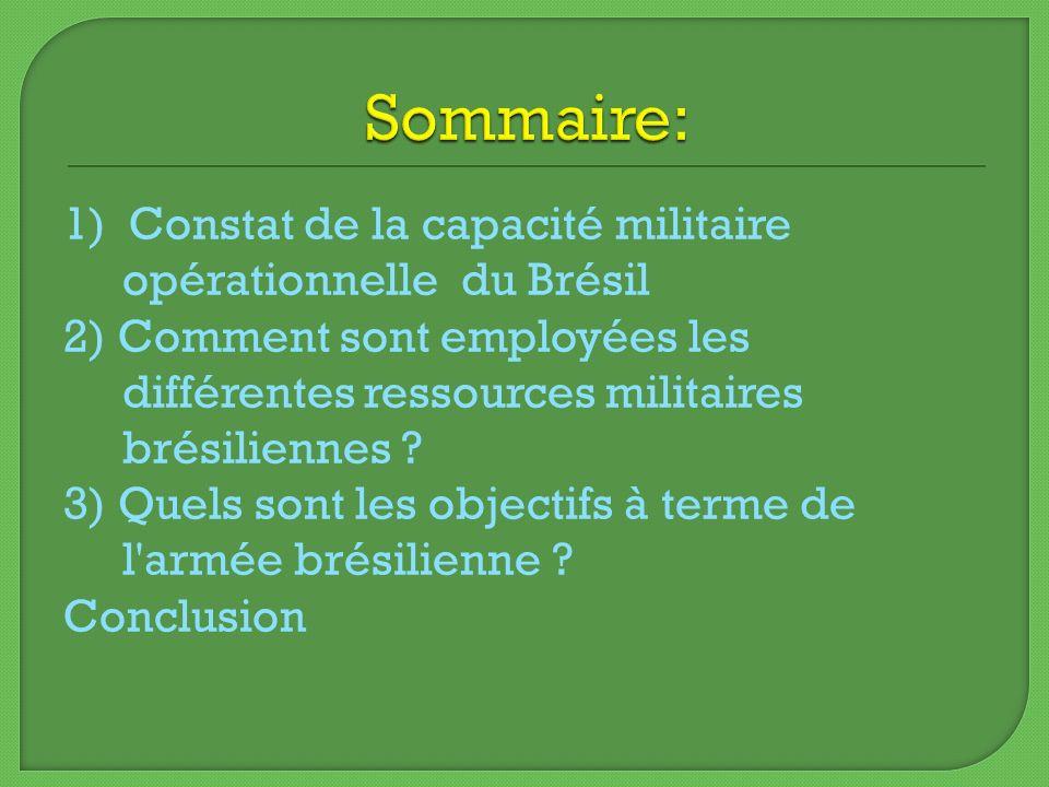 1) Constat de la capacité militaire opérationnelle du Brésil 2) Comment sont employées les différentes ressources militaires brésiliennes ? 3) Quels s