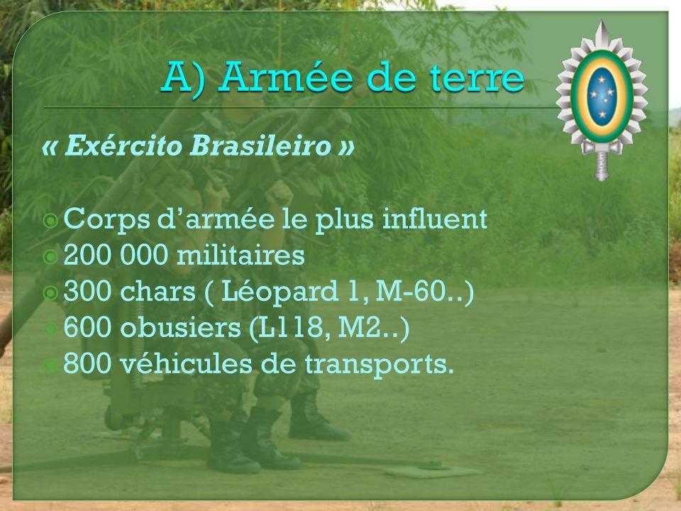 « Força Aérea Brasileira » Assure la sécurité de lespace aérien brésilien Composée de 50 000 soldats 200 avions de combats (Mirage 2000, AMX..) 500 hélicoptères