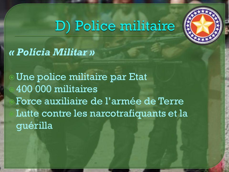 « Polícia Militar » Une police militaire par Etat 400 000 militaires Force auxiliaire de larmée de Terre Lutte contre les narcotrafiquants et la guéri