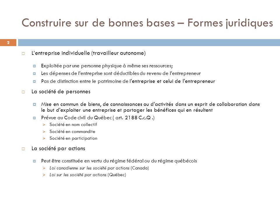 Construire sur de bonnes bases – Formes juridiques 2 Lentreprise individuelle (travailleur autonome) Exploitée par une personne physique à même ses re