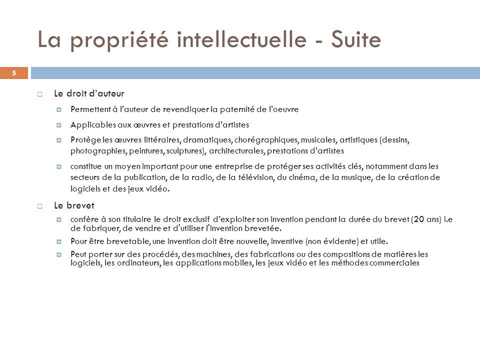 La propriété intellectuelle - Suite 5 Le droit dauteur Permettent à lauteur de revendiquer la paternité de loeuvre Applicables aux œuvres et prestatio