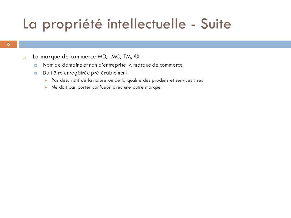 La propriété intellectuelle - Suite 6 La marque de commerce MD, MC, TM, ® Nom de domaine et non dentreprise v. marque de commerce Doit être enregistré