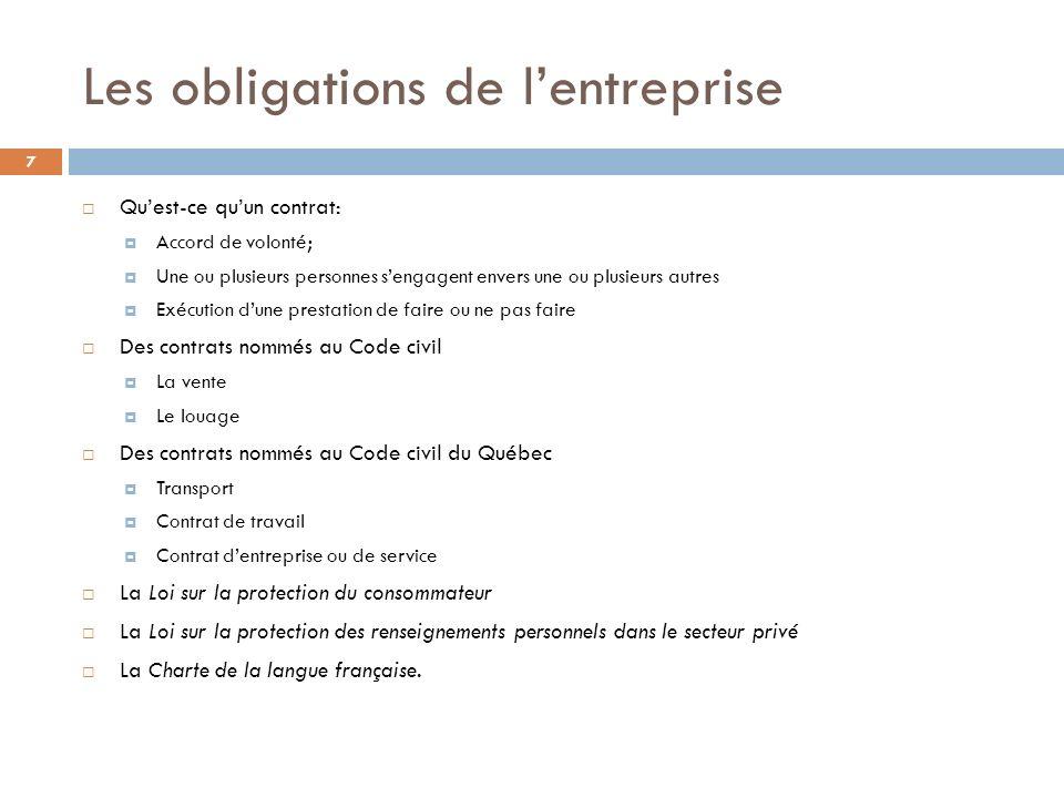 Les obligations de lentreprise 7 Quest-ce quun contrat: Accord de volonté; Une ou plusieurs personnes sengagent envers une ou plusieurs autres Exécuti